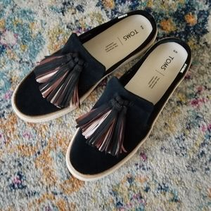 Tom's black suede mules size 9